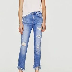 Ripped Zara Jeans with Fringed bottoms